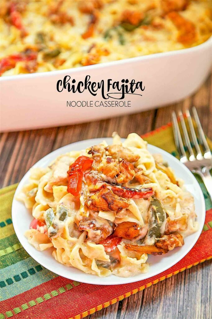 plate of fajita chicken pasta