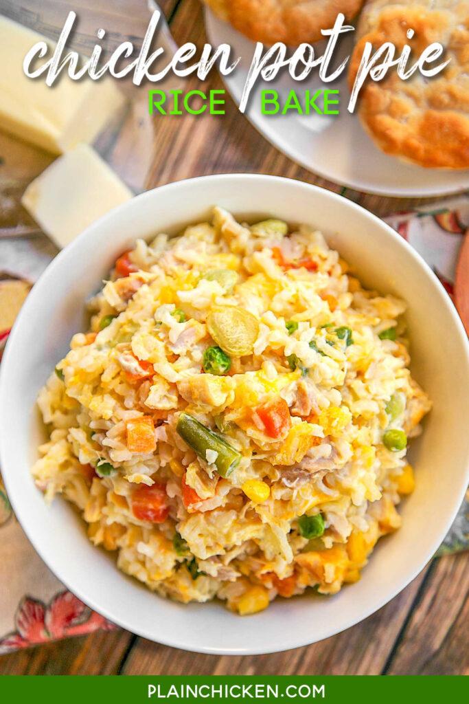 bowl of chicken pot pie rice
