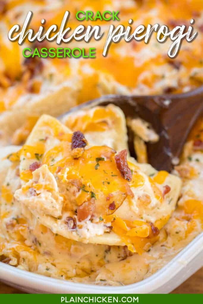 scooping pierogi casserole from baking dish