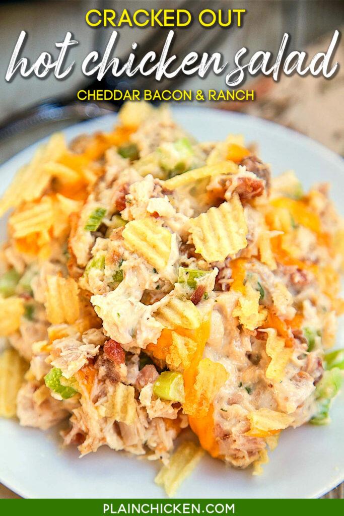 plate of chicken salad casserole