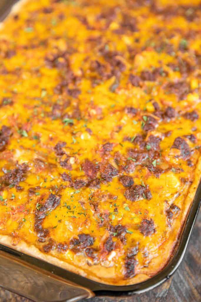 taco casserole in baking dish