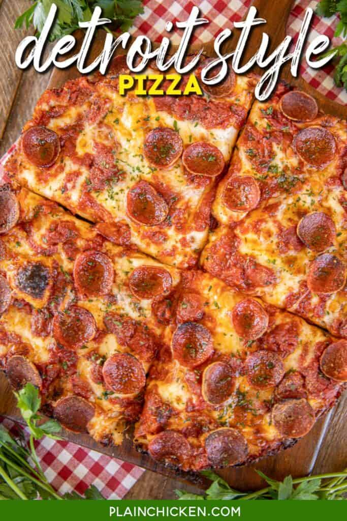 deep dish pizza cut into 4 pieces on a cutting board