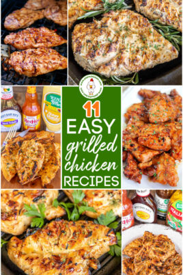 collage of grilled chicken photos