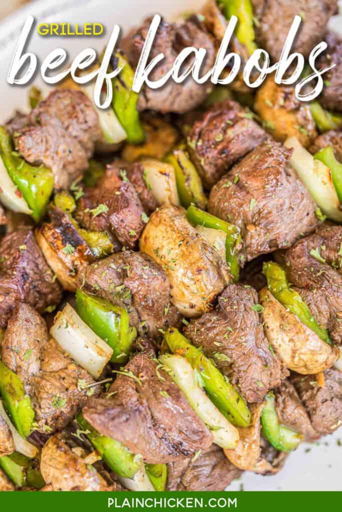 platter of steak skewers