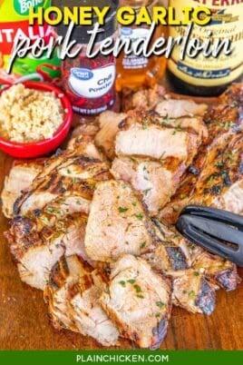 sliced pork tenderloin on a platter