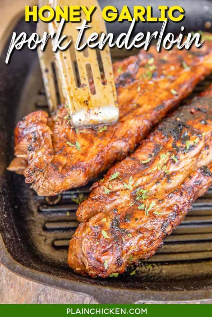 two pork tenderloins in a grill pan