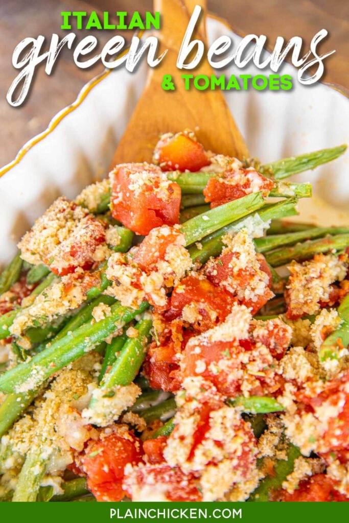spoonful of green beans & tomatoes