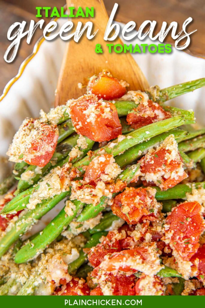 spoonful of green beans and tomatoes