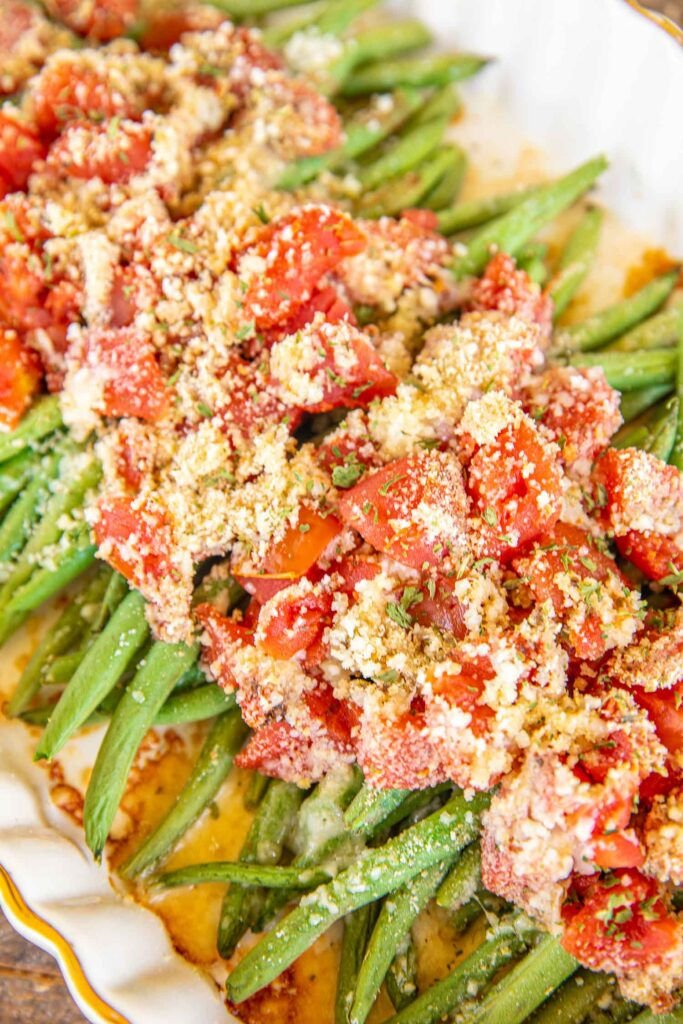 green beans in a baking dish
