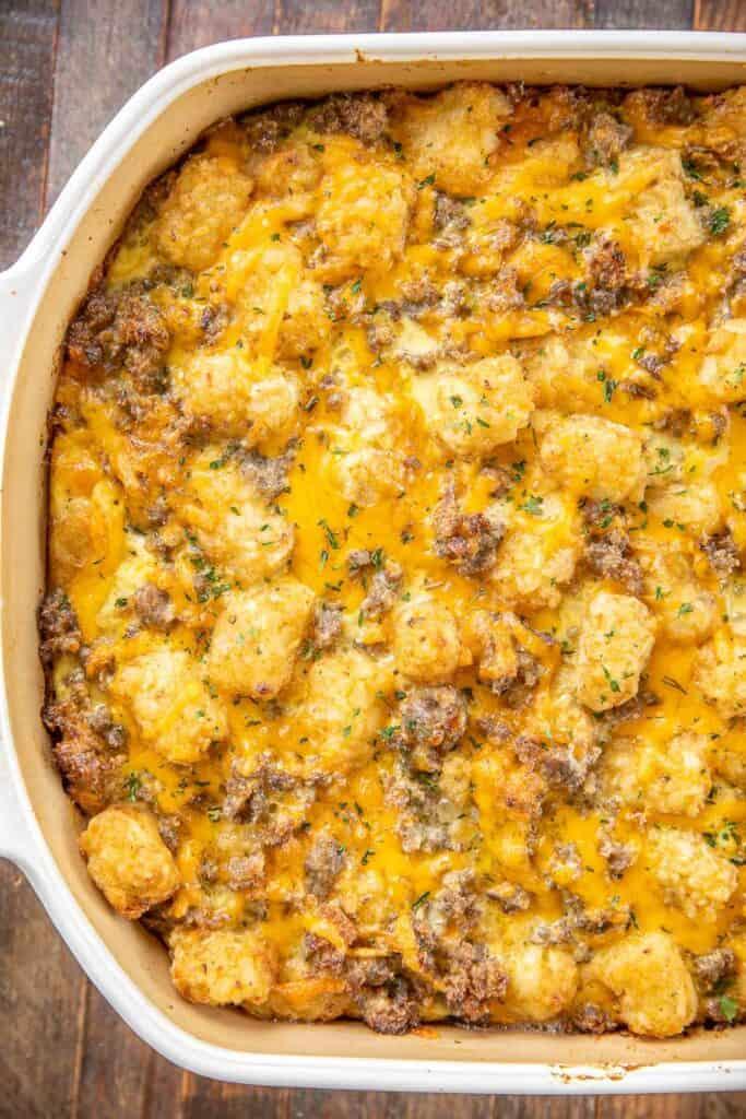 breakfast tater tot casserole in baking dish