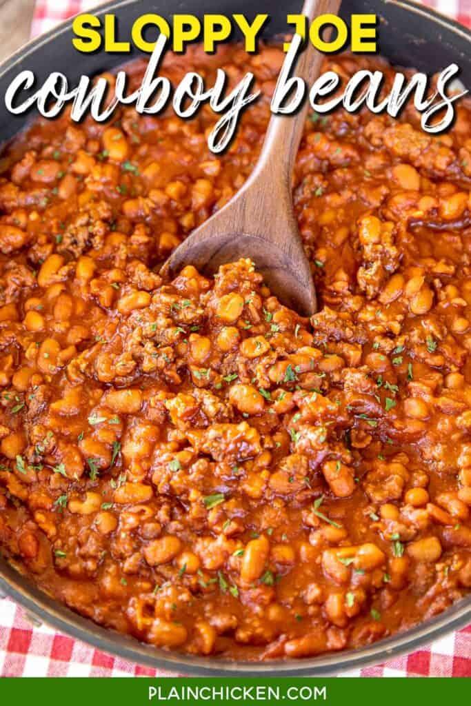 skillet of baked beans