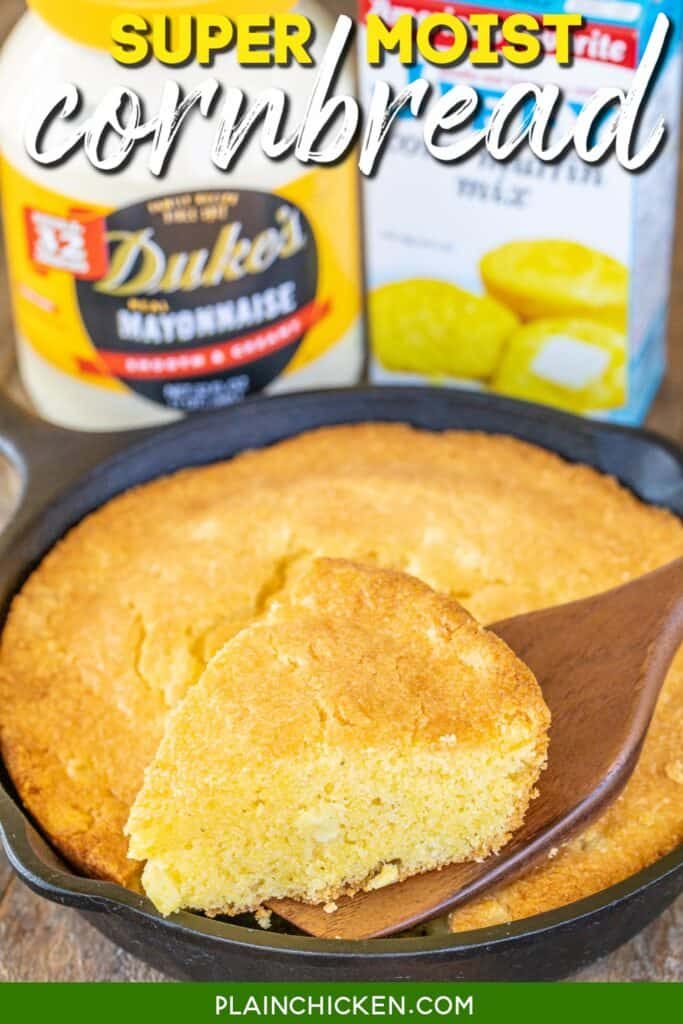 slice of cornbread on a skillet