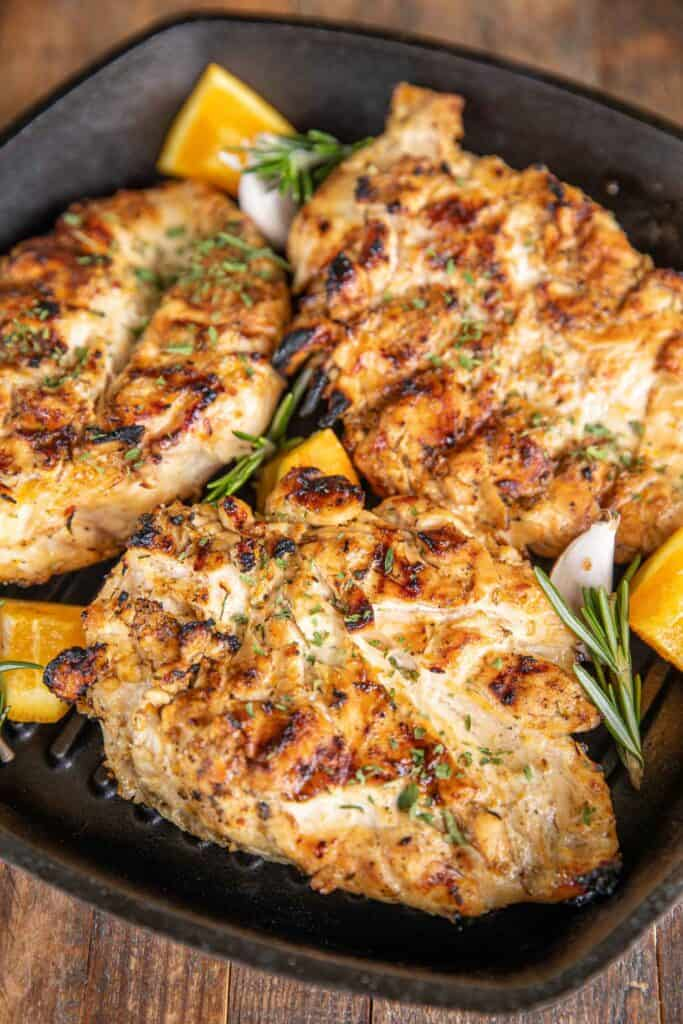 skillet of grilled chicken