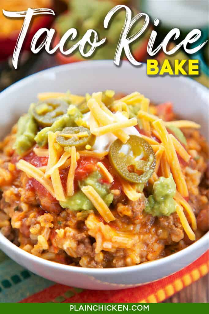 bowl of taco rice with taco toppings