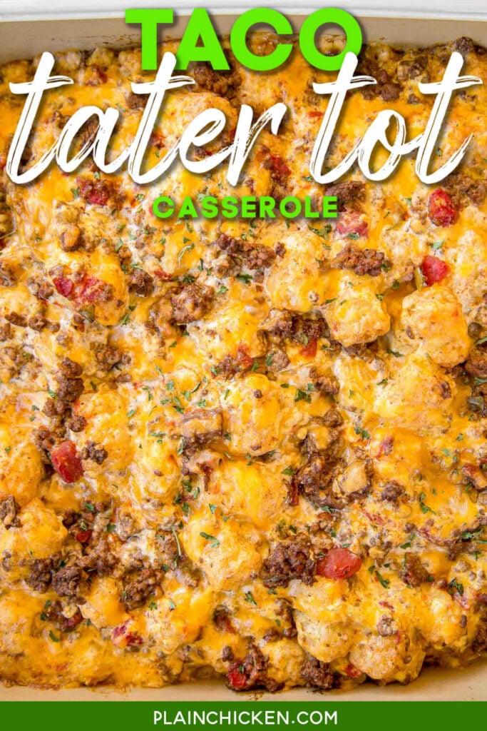 taco tater tot casserole in baking dish