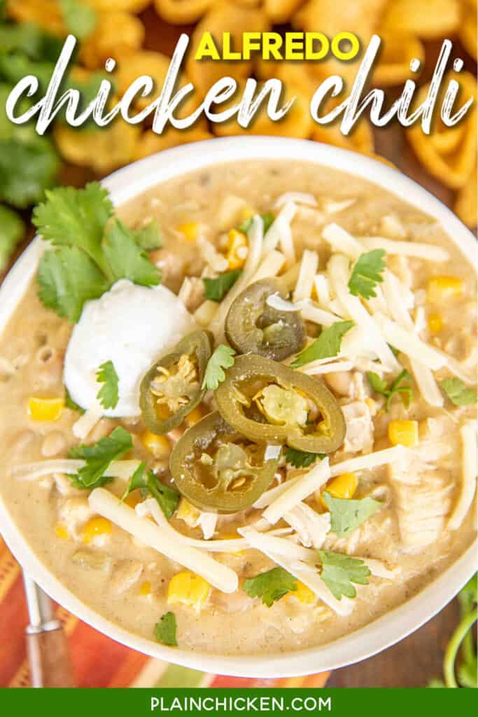 bowl of white chicken chili