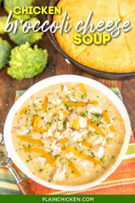 bowl of chicken broccoli cheese soup