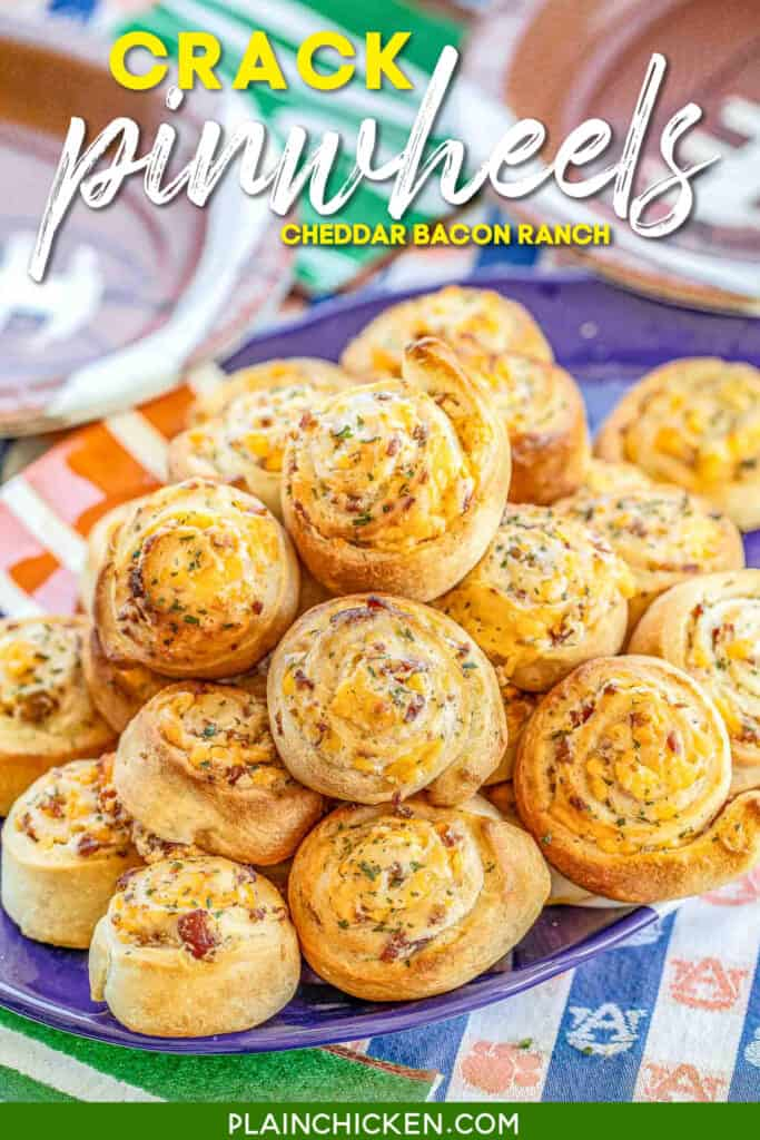 plate of cheesy pizza pinwheels