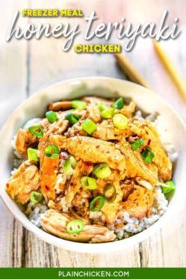 bow of teriyaki chicken and rice