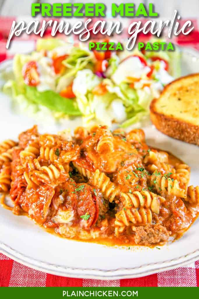 plate of pasta and salad