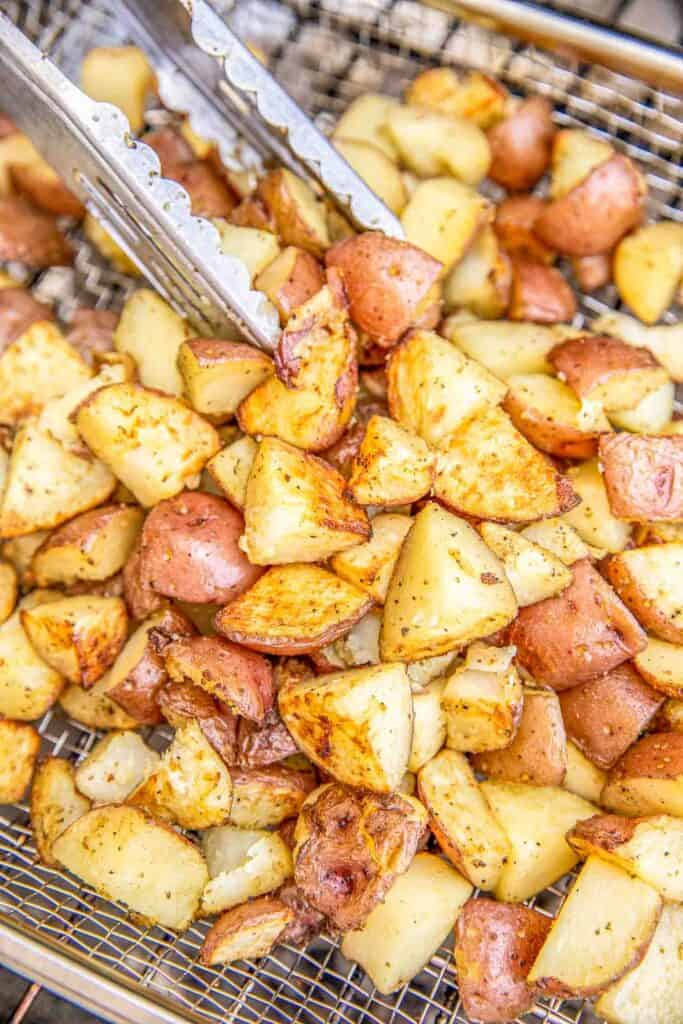 cooking potatoes on the grill