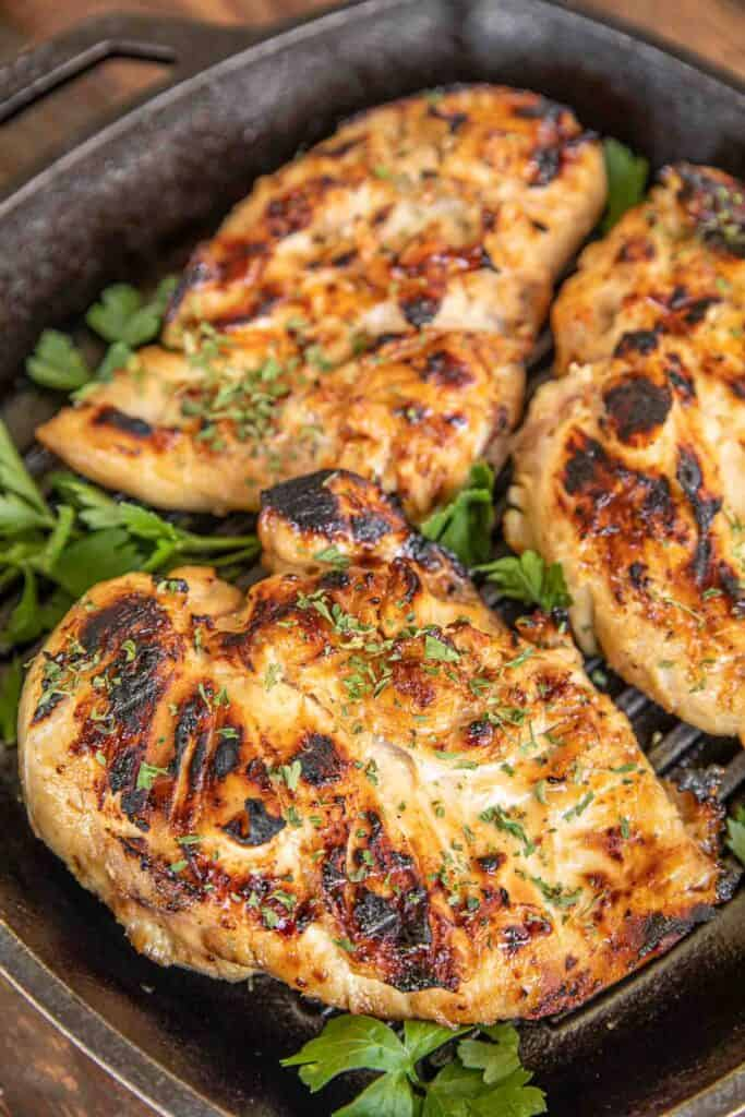 chicken in cast iron grill pan