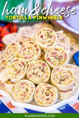 plate of ham tortilla pinwheels