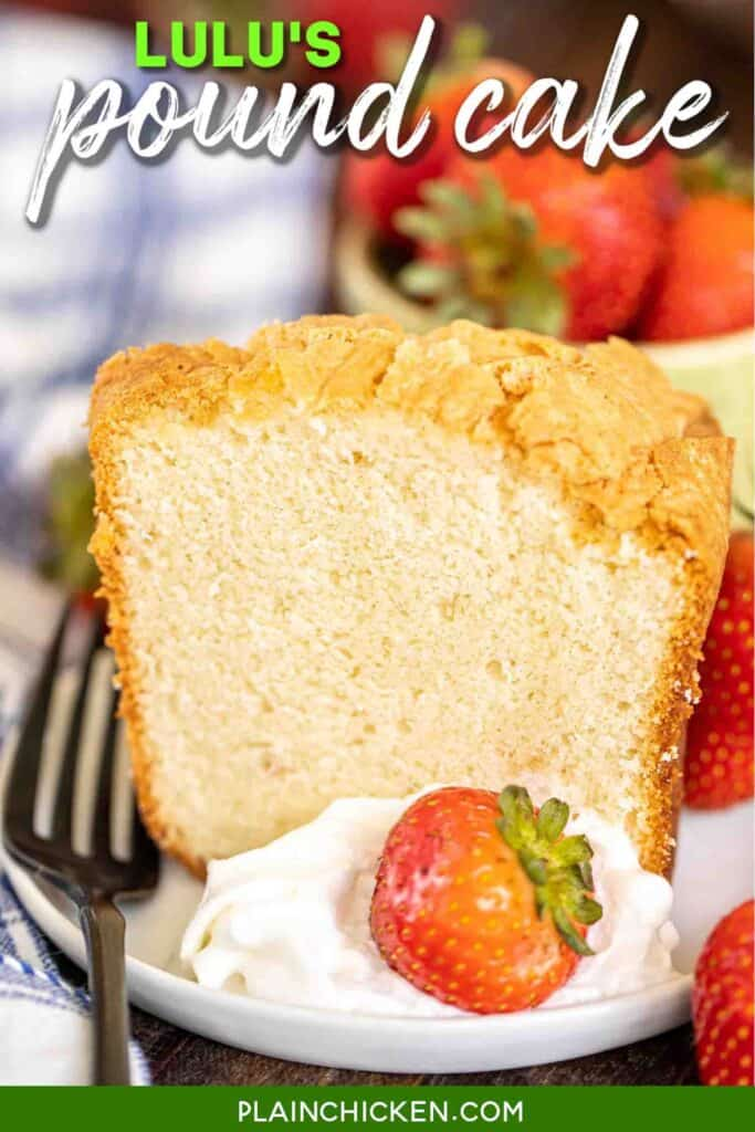 slice pound cake on a plate with strawberries