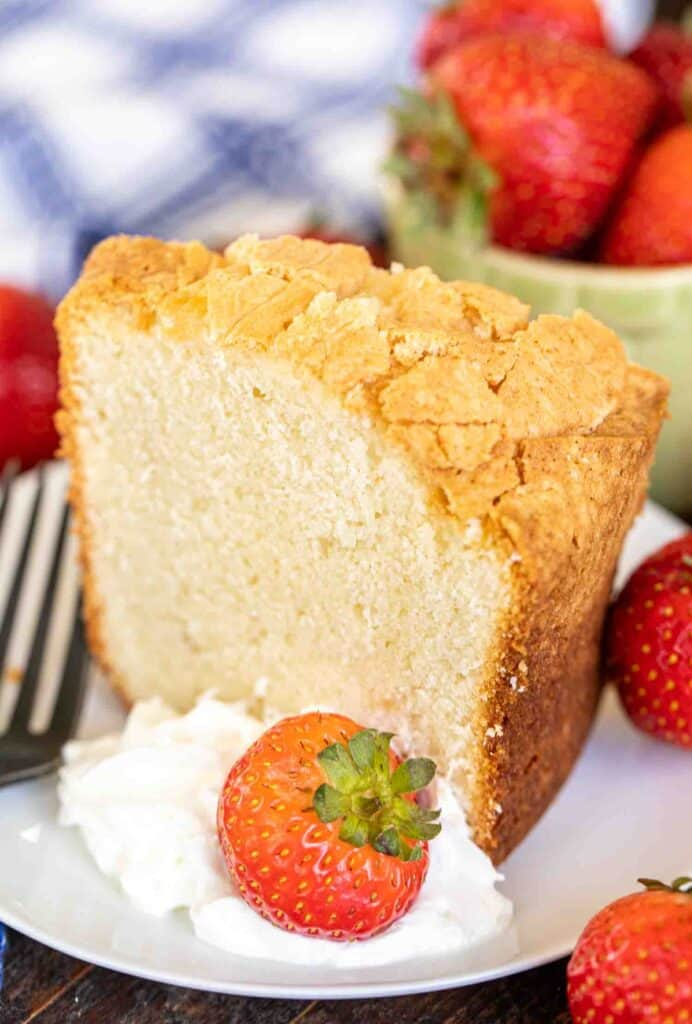 slice of pound cake with strawberries