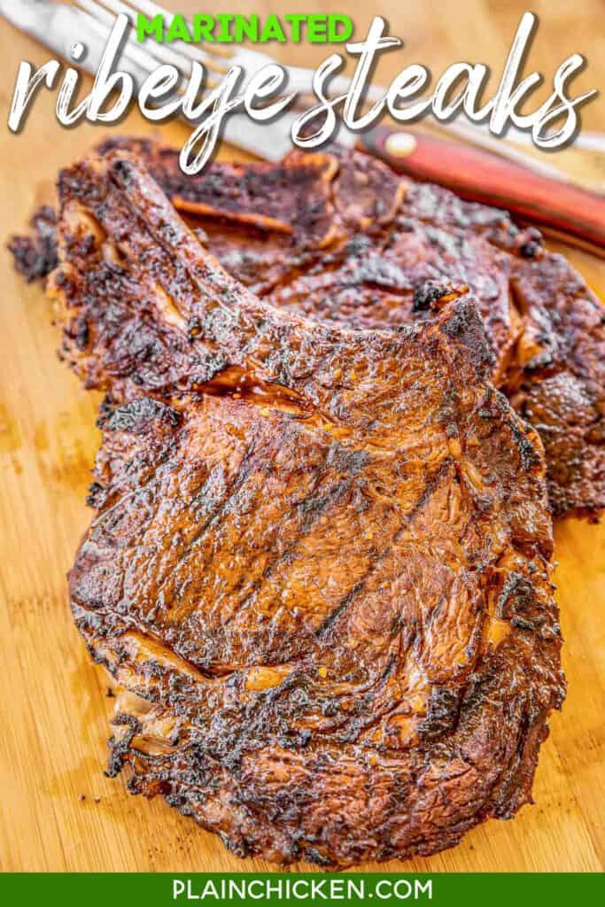 steaks on cutting board