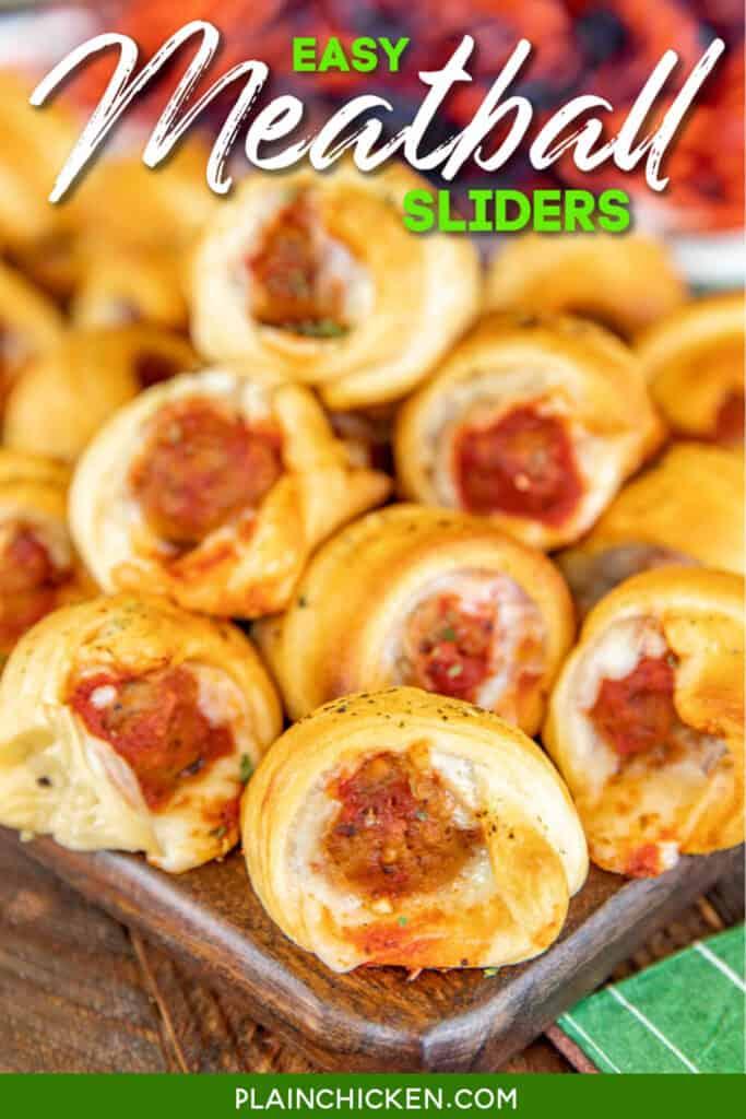 meatball crescent roll sliders on plate