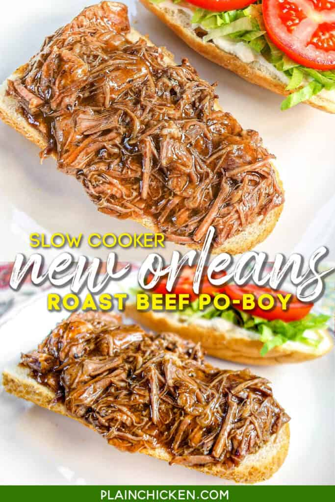 2 photos of roast beef poboy