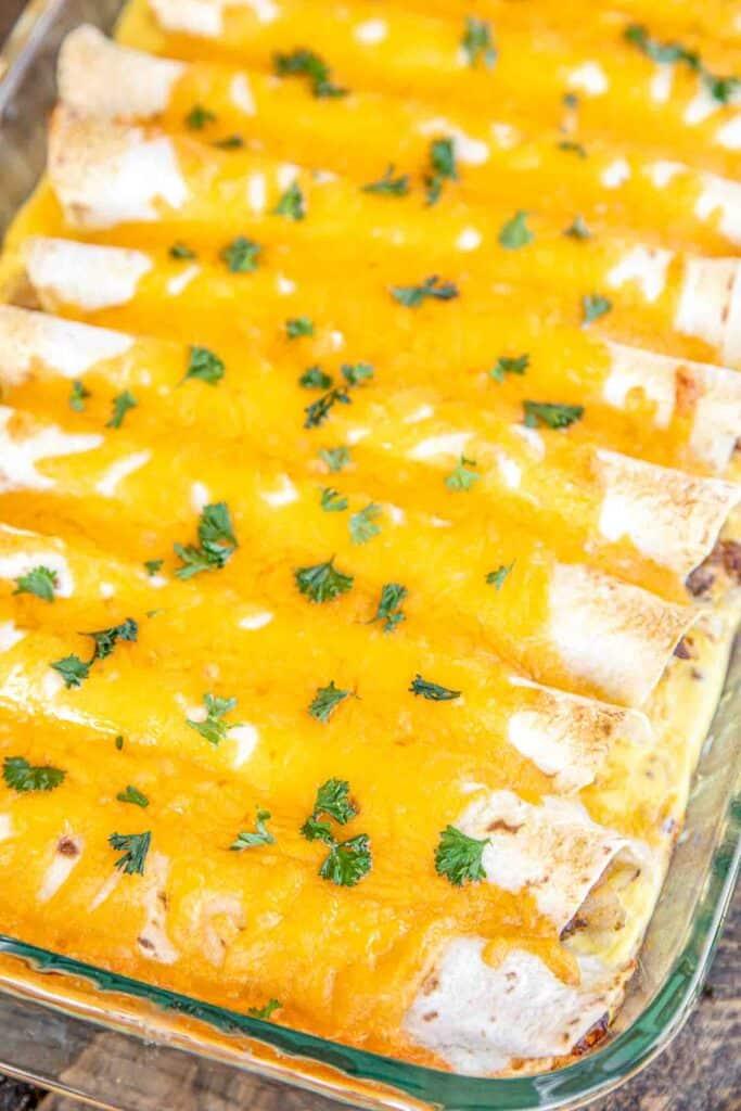 breakfast burrito casserole in a baking dish