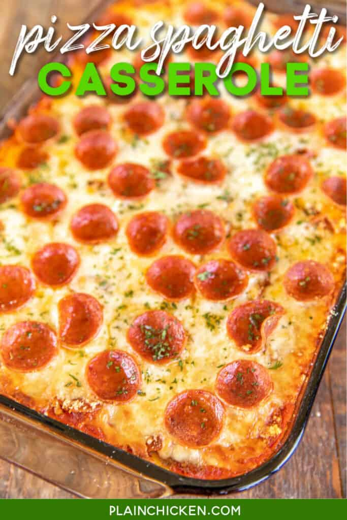 pepperoni spaghetti casserole in baking dish