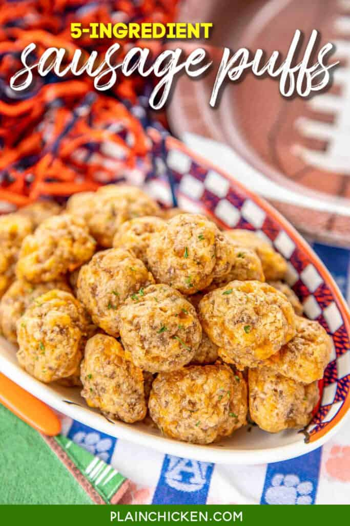 Sausage Puffs - CRAZY good!!! SO simple to make and they taste amazing!!! Only 5 ingredients - butter, cheddar cheese, sausage, worcestershire and flour. These things fly off the plate at parties. You will want to double the recipe! A great alternative to our usual sausage balls. SO GOOD!!! #sausage #tailgating #appetizer #partyfood #quickappetizer