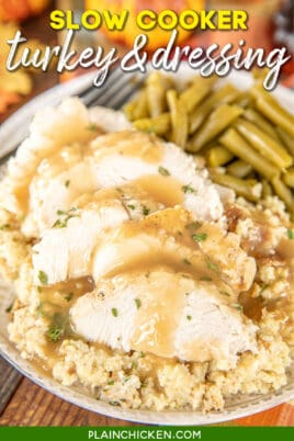 plate of turkey & dressing with gravy