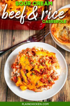 plate of beef & rice casserole