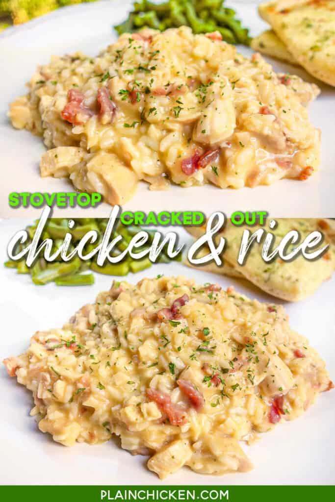 2 photos of chicken & rice