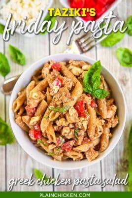 bowl of taziki's special pasta