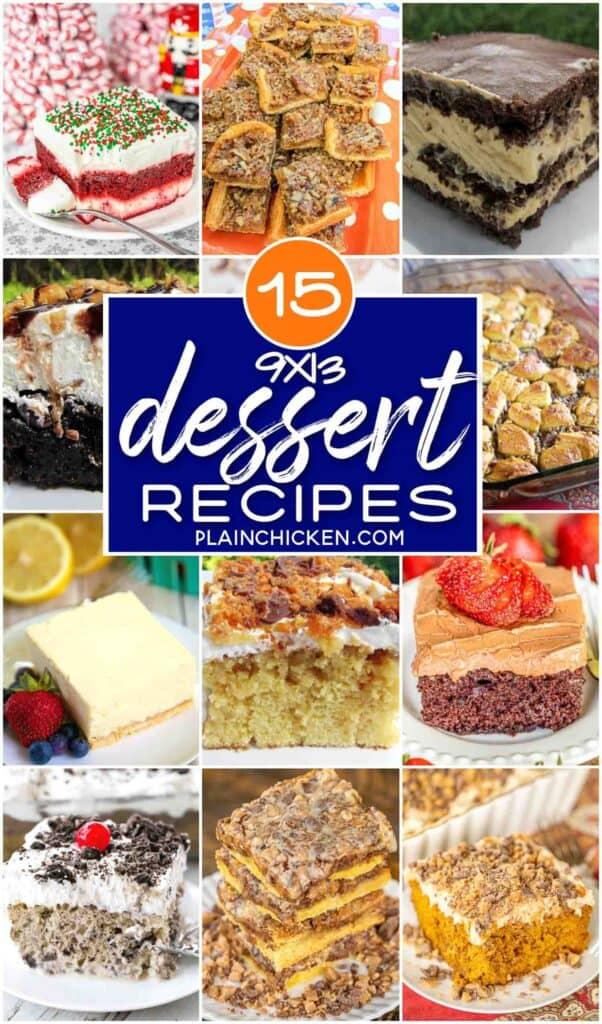 collage of 9x13 dessert photos