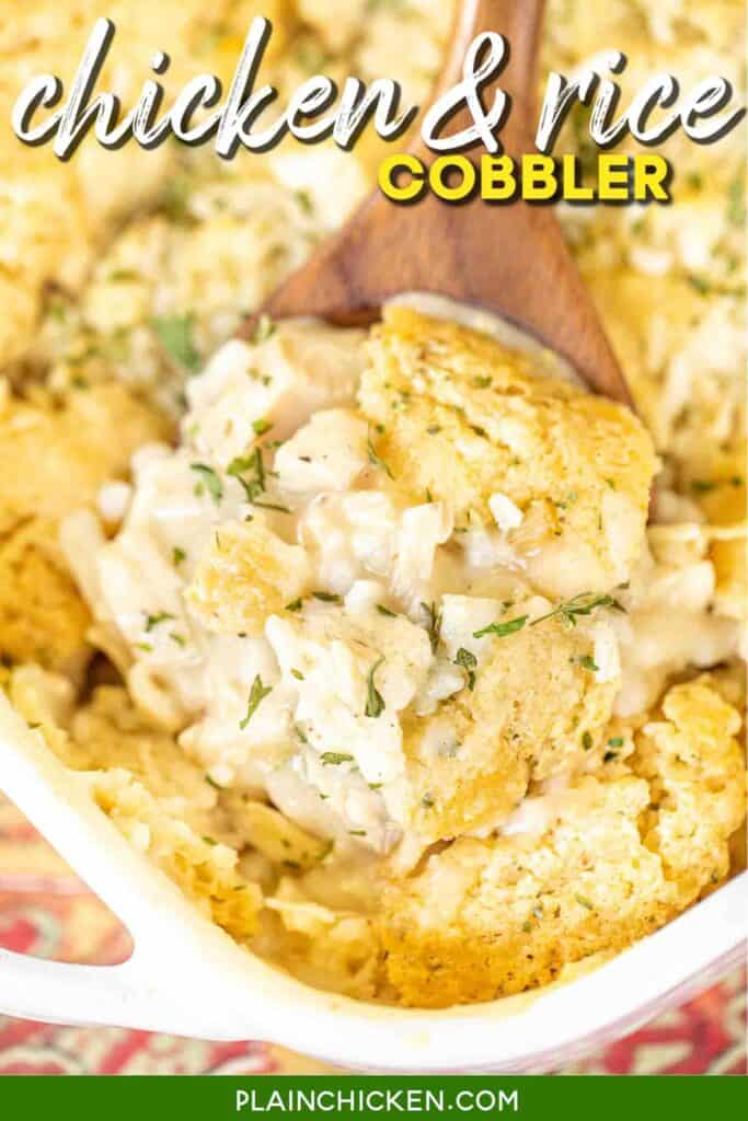 scooping chicken & rice cobbler from baking dish