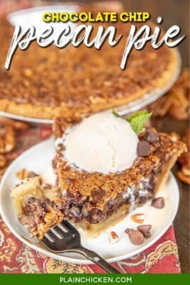 slice of chocolate chip pecan pie on a plate