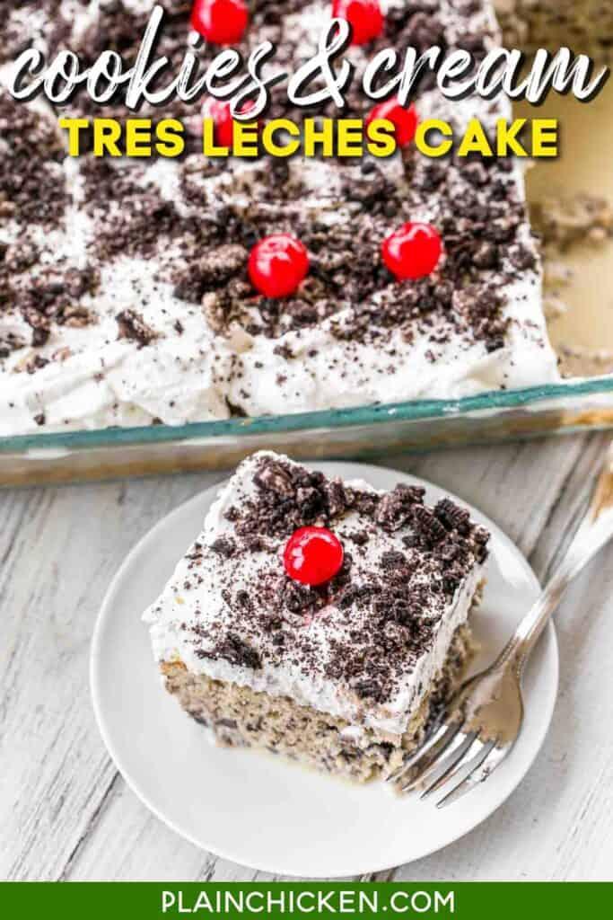 slice of cookies & cream tres leches cake