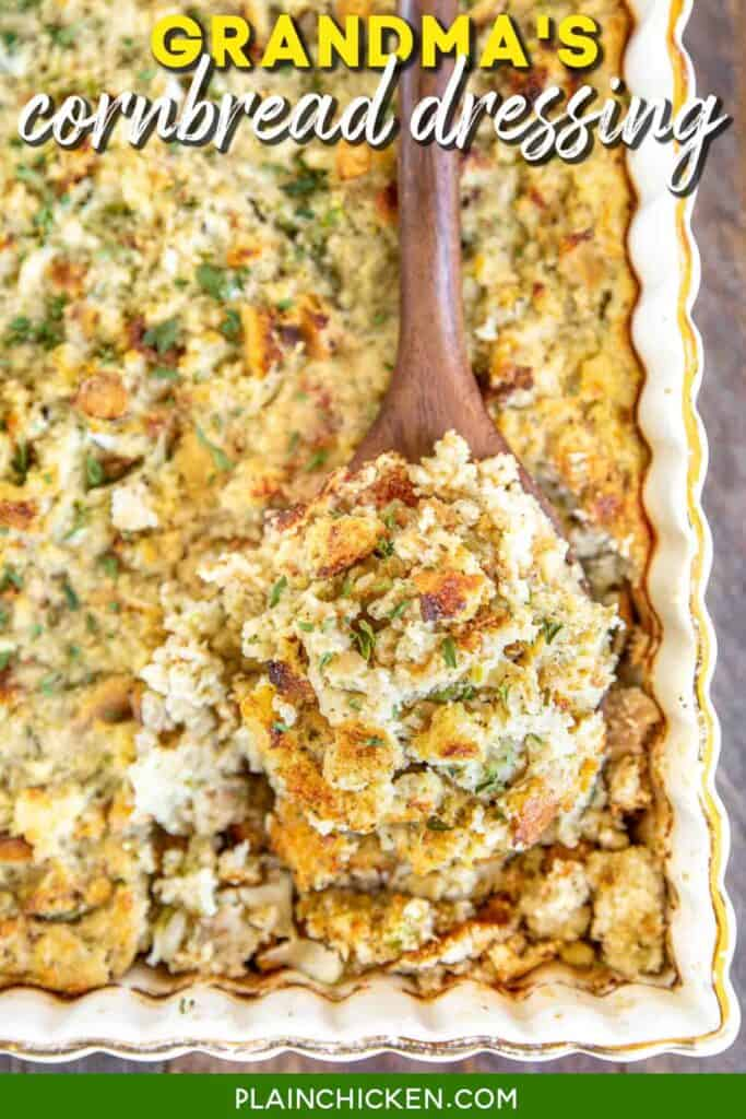scooping cornbread dressing from baking dish
