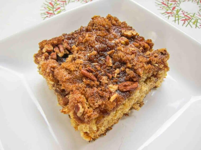 Overnight Coffee Cake - our go-to Christmas morning breakfast! Flour, sugar, brown sugar, baking soda, baking powder, cinnamon, buttermilk, butter eggs, pecans. Assemble the night before and bake in the morning. This is SOOO good! We make it every holiday!