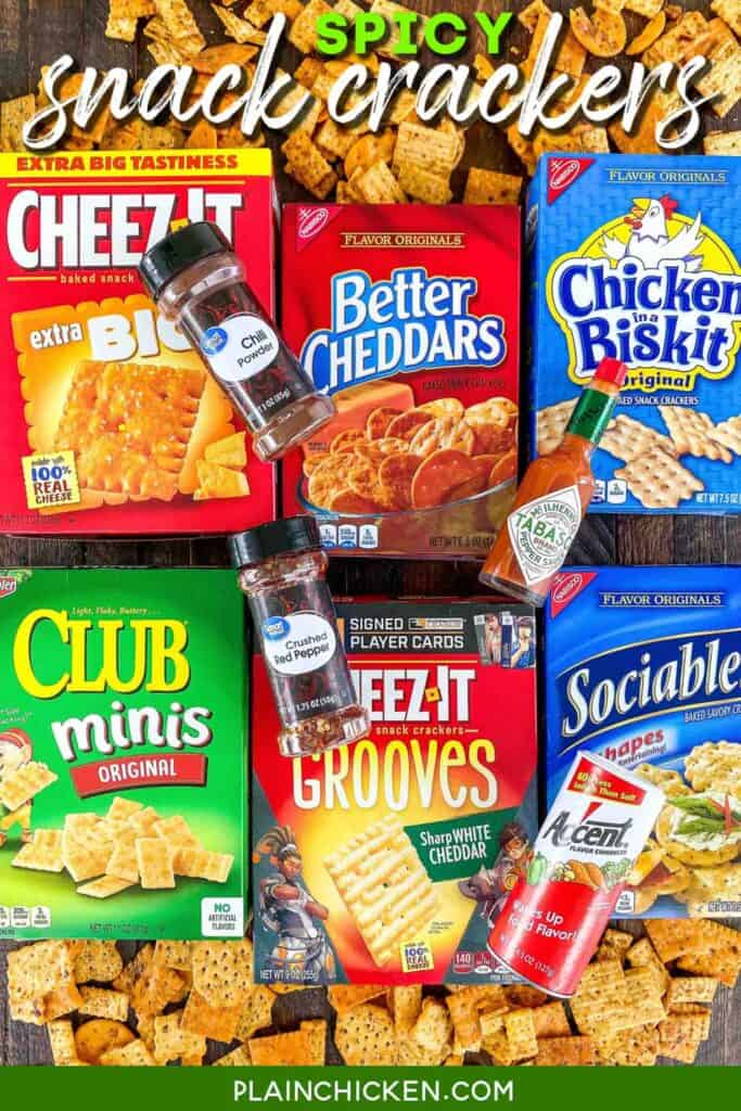 boxes of crackers with spicy ingredients