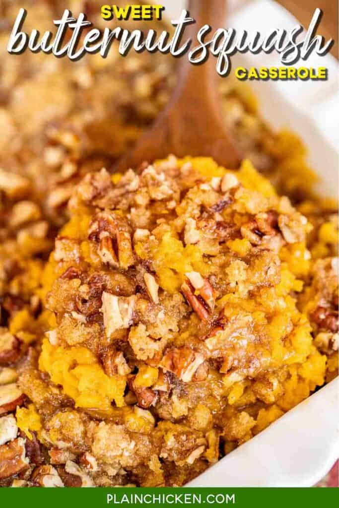 scooping butternut squash from baking dish