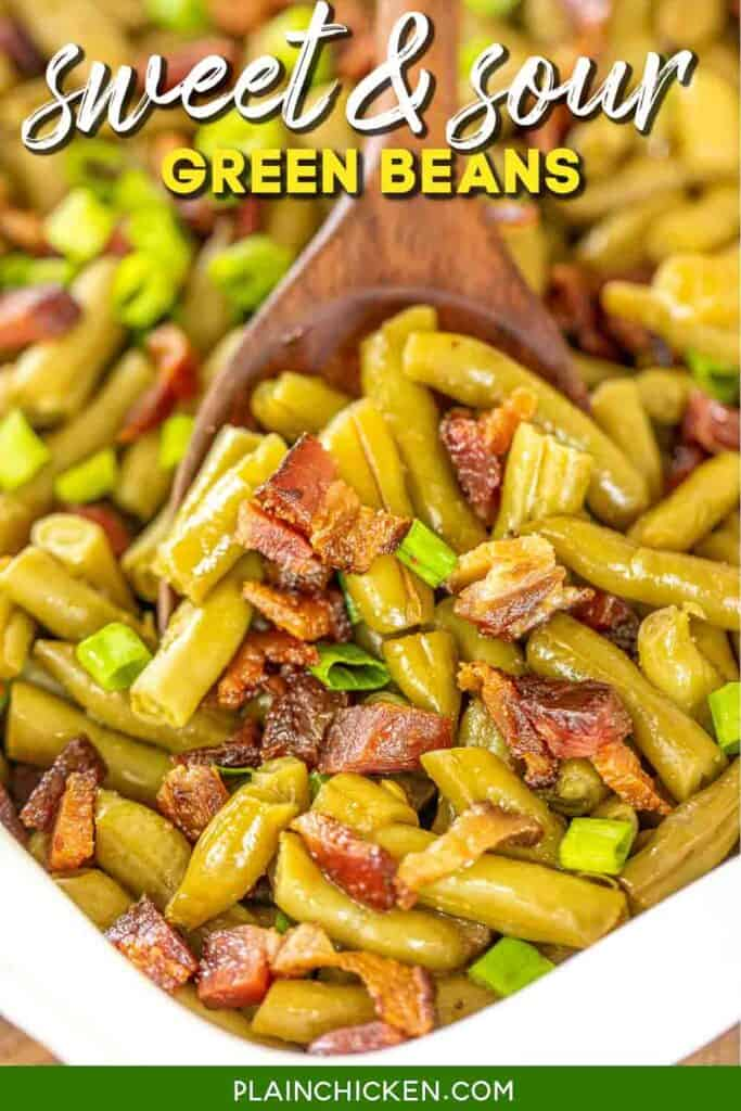 baking dish of green beans and bacon