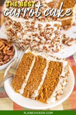 slice of three layer carrot cake