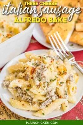 plate of italian sausage pasta casserole